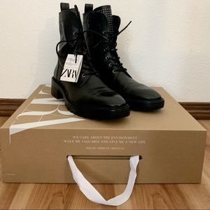 Zara Leather Combat Lug Sole Boots EU41 *US10.5*